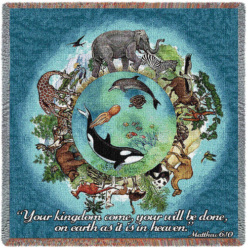 Kingdom Come, Animal Circle of Life tapestry throw blanket- Inspirational