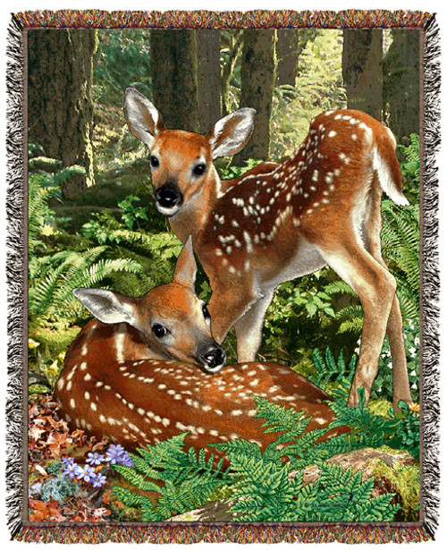 Twin deer in wooded habitat on wildlife tapestry throw blanket