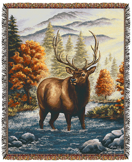 Autumn Elk tapestry throw blanket