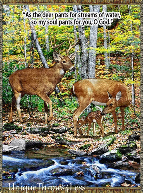 Deer Family, Streams of Water Tapestry Throw Blanket-Inspirational Gift
