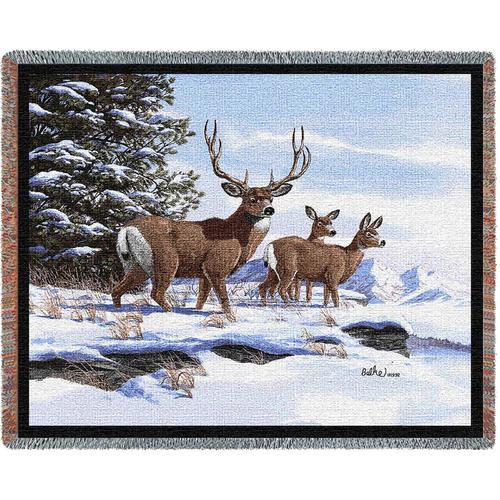 Mule Deer in Snow- wildlife tapestry throw blanket