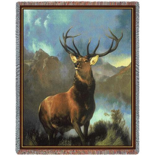 Monarch of the Glen Elk- Deer Tapestry Throw Blanket