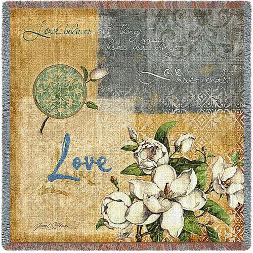 Love Believes inspirational tapestry throw blanket, Corinthians 13