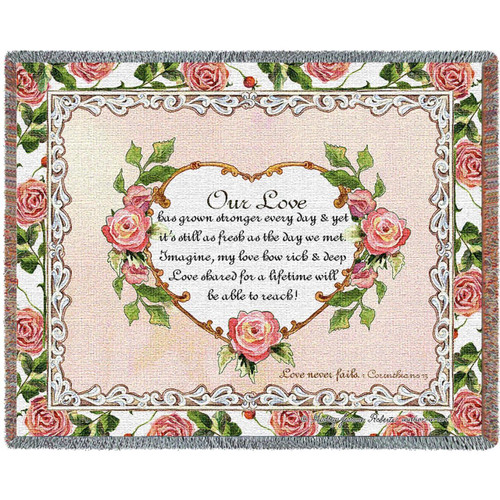 Our Love Inspirational Tapestry Throw Blanket