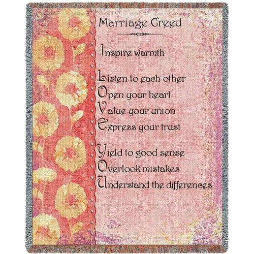 Marriage Creed inspirational tapestry throw blanket