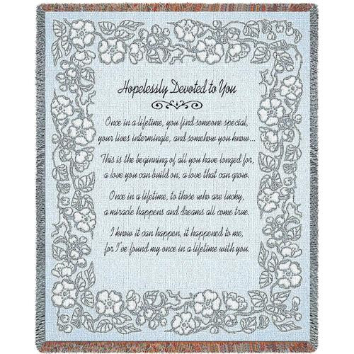 Hopelessly Devoted inspirational tapestry throw blanket in silver