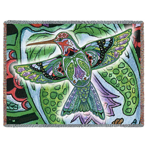 Hummingbird Mosaic tapestry throw blanket