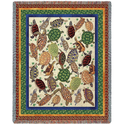 Colorful Turtles Tapestry Throw Blanket
