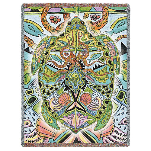 Sea Turtle Mosaic tapestry throw blanket