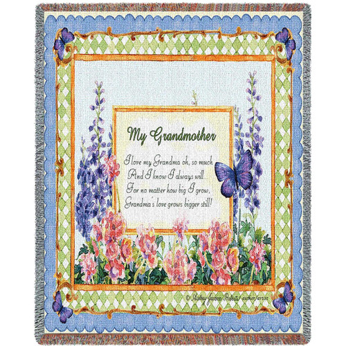 My Grandmother tapestry throw blanket with inspirational message, butterflies and floral