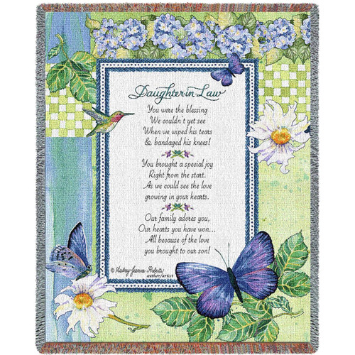 Daughter in Law tapestry throw blanket, inspirational message, hummingbird, floral and butterflies