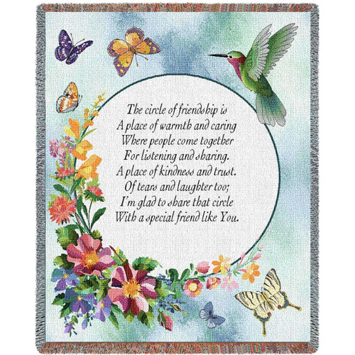 Circle of Friendship inspirational tapestry throw blanket, butterflies, hummingbird and floral decor