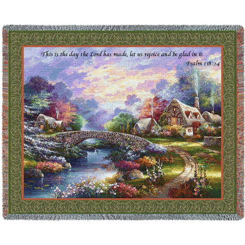Springtime Glory inspirational tapestry throw blanket, This Is The Day, Psalm 118 Scripture. Cottage and stone bridge