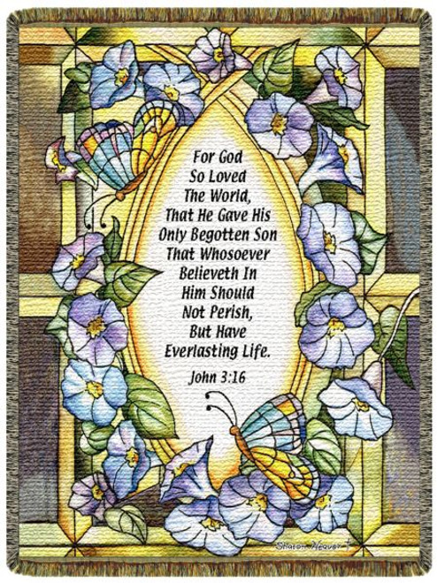 Stained glass flowers and butterflies cover this inspirational tapestry throw blanket of Scripture verse John 3:16