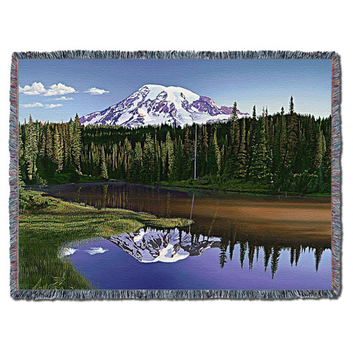 Mount Rainier, Washington scenic art tapestry throw blanket