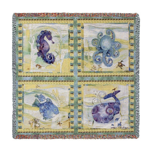 Playful Sea tapestry throw blanket