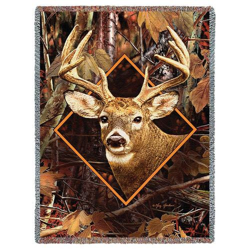 Buck in Camo tapestry throw blanket