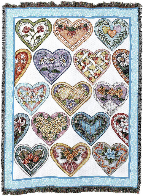 Patchwork Valentine Hearts- tapestry throw blanket