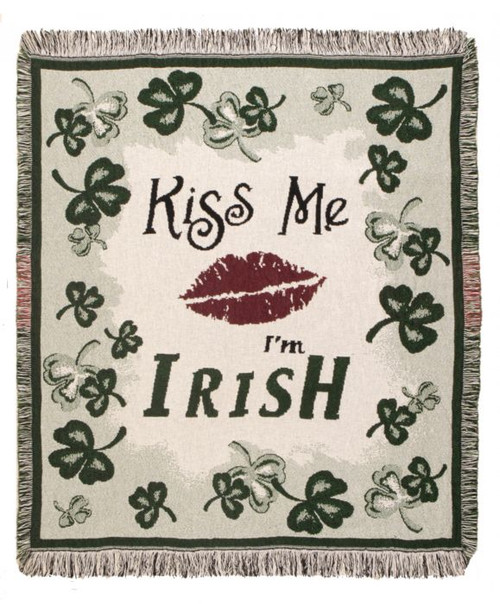 Kiss Me I'm Irish- Ireland tapestry throw blanket