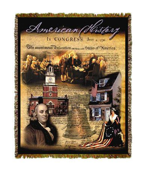 American History throw blanket, woven tapestry