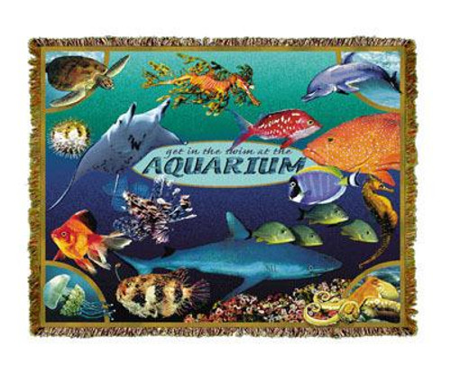 The Aquarium, colorful fish throw blanket