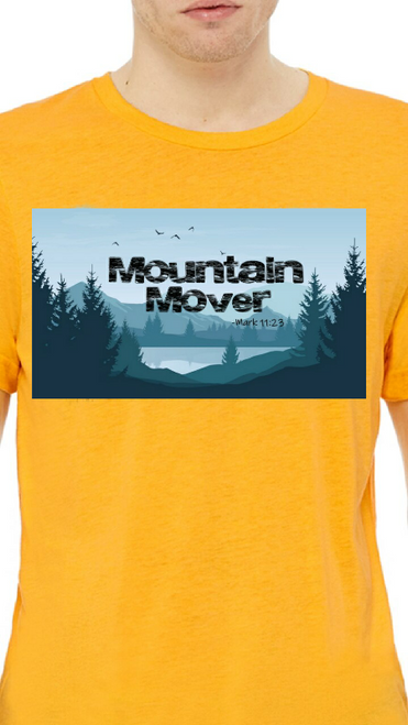 Men, you are Kingdom royalty! Wear our Mountain Mover shirt with pride. Features Scripture verse Mark 11:23 with a rugged design, fit for a king! Inspirational tee