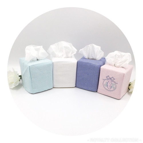 Tissue Box Cover- Seersucker