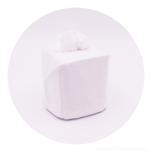 White Linen Blend Tissue Box Cover
