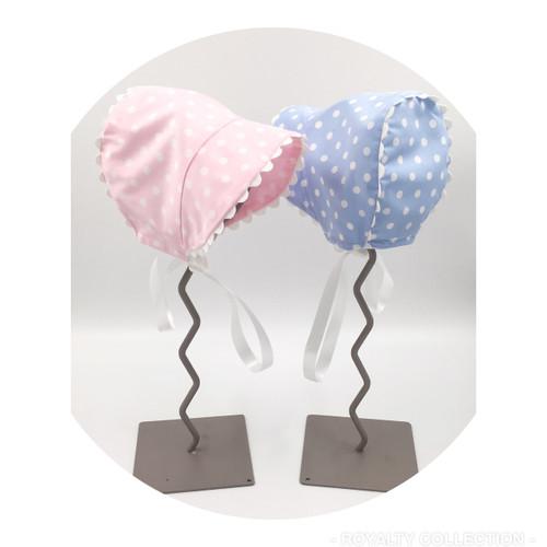 Baby Bonnet  - Blue Polka Dot