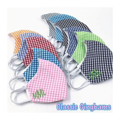 Adult Fitted Gingham Face Masks