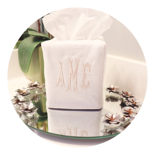 Premium Waterford Linen Tissue Box Cover