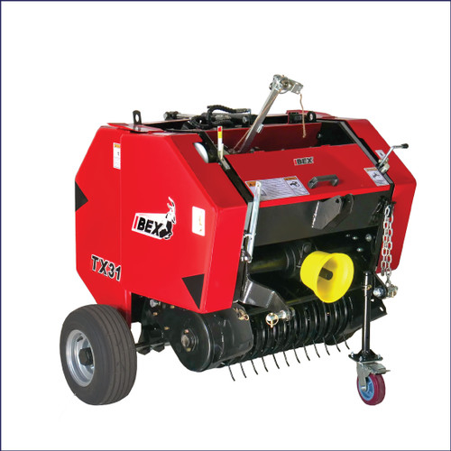 Ibex TX31 Mini Round Baler with twine wrap for hay and pine straw production.