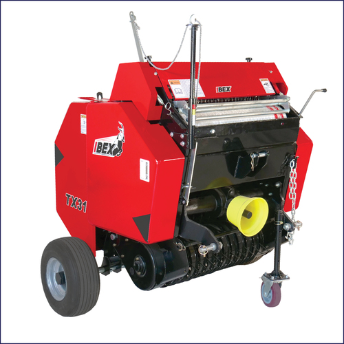 Ibex TX31 Mini Round Baler with net wrap for hay and pine straw production.