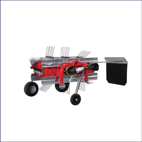 The Ibex TX80 Belt Rake is the perfect choice for those wanting to rake in very restricted spaces like small-farm pastures and pine straw plantations. Its raking width is adjustable from 5 to 6 ½ feet. This model provides a second belt for driving the tines, pneumatic rear wheels with quick-adjust levers, and a heavy section steel tubing frame. Compact enough to fit in the footprint of most small utility tractors, it will get you in spaces other rakes won't. It's a perfect match for our Ibex TX31 Mini Round Baler.