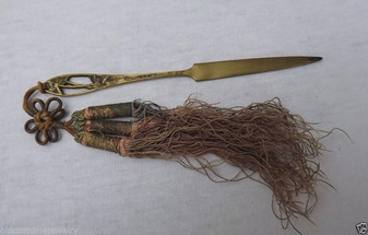 Antique ART NOUVEAU Bronze Letter Opener FINE SILK TASSEL TASSELS~Florida Souvenir
