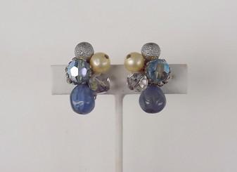 Vintage HATTIE CARNEGIE EARRINGS~ICY BLUE ART GLASS AB CRYSTAL BEADS