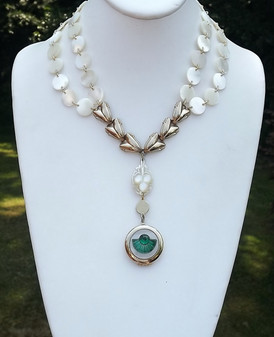Vintage 2 Strand Locket Lavalier Necklace, Mother of Pearl Beads, Carved MOP