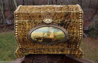 Antique Victorian Celluloid Dresser Box Croc Alligator Velvet + Scene High Dome