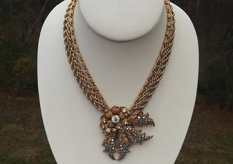 Vintage MIRIAM HASKELL SIGNED RUSSIAN GOLD GILT LEAVES RHINESTONES NECKLACE