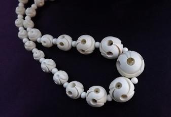 Vintage Galalith Necklace Art Deco Moderne Cubism Inspired Carved Beads