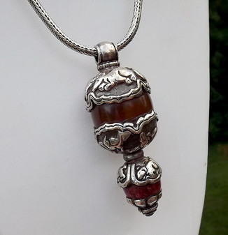 Native American HUGE Amber & Silver Pendant Animal Spirits Turquoise Necklace
