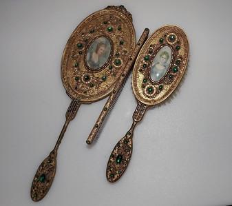 Apollo Ormolu Green Jeweled Mirror Brush Comb Set Hand Painted Portraits On Ivory