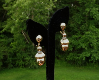 Vintage Trifari Gold Balls Dangle Earrings Rhinestone Rondells Pink Gold Plated