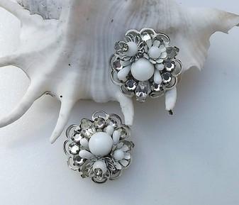 Vintage Eugene Earrings Rose Montees Milk Glass Beads Enamel Hand Wired Wedding