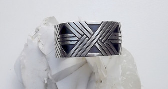 Retired JAMES AVERY Oxidized Black & Sterling Silver Cuff Bracelet Heavy Wide