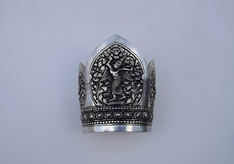 Old Siam Winged Goddess 900 Huge Silver Cuff Bracelet Detailed Repousse Metal