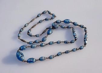 Vintage ART DECO Venetian Shimmering Blue Foil Lava Glass Beads Czech Necklace