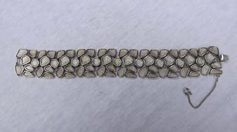 TRIFARI Abstract Bracelet Organic Chased Silver Metal  Retro Design 1960's