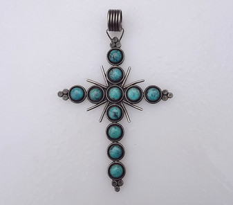 """Huge 5"""" Tall Native American Turquoise & Sterling Silver Cross Pendant"""