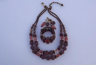 DeMario Art Glass Beads Necklace Bracelet Ers Set Coralene AB Garnet Venetian